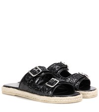 Saint Laurent Glitter Embellished Sandals Black