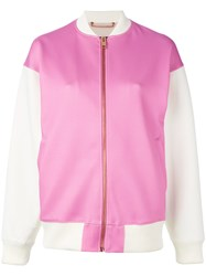 Diesel Contrasted Bomber Jacket Women Cotton Polyester Spandex Elastane L Pink Purple