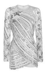 Elie Saab Long Sleeved Embroidered Short Dress With Wrapped Skirt White