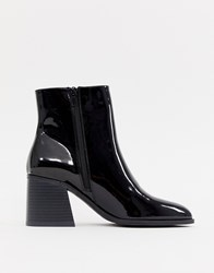 London Rebel Block Heel Ankle Boots Black Patent