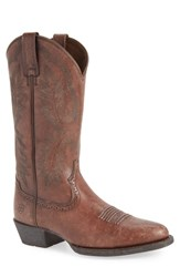 Ariat Heritage Calhoun Western R Toe Boot Natural Brown Leather