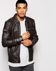 Superdry Benjamin Leather Jacket Brown