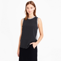 J.Crew Silk Front Tank In Polka Dot
