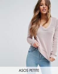 Asos Petite Jumper In Pointelle Stitch With V Neck Nude Marl Beige