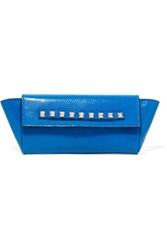 Valentino Studded Lizard Clutch Bright Blue