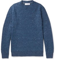 Brunello Cucinelli Ribbed Melange Wool Blend Sweater Blue