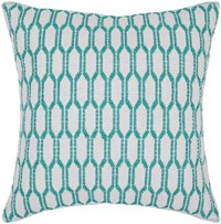Chandra Textured Contemporary Cotton Pillow White Green 1 18 Inch