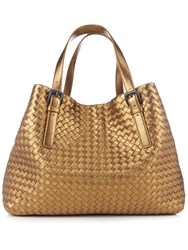 Bottega Veneta Intrecciato Large Leather Tote Gold