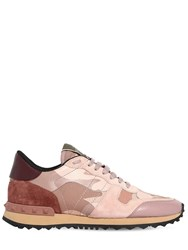 Valentino Garavani Rockrunner Leather And Suede Sneakers Blush