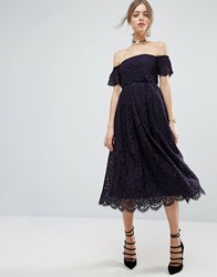 Asos Off The Shoulder Lace Prom Midi Dress Navy