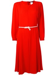 Max Mara Belted Pleated Dress Women Polyester Triacetate 46 Red