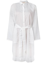 Erika Cavallini Striped Shirt Dress White