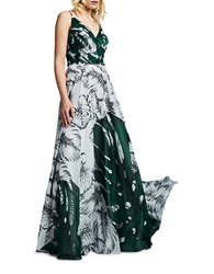 Kay Unger Leaf Printed Chiffon Gown Green Multi