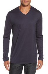 Boss Men's 'Tyson' V Neck Long Sleeve T Shirt Medium Grey