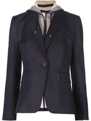 Veronica Beard Hooded Blazer Blue