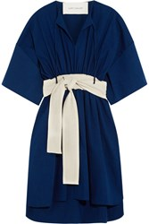 Cedric Charlier Belted Cotton And Linen Blend Dress Royal Blue