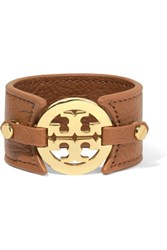 Tory Burch Textured Leather And Gold Tone Cuff Brown