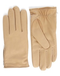 Melindagloss Camel Leather Gloves With Side Zips