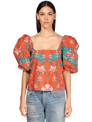 Johanna Ortiz Printed Cotton Poplin Puff Sleeves Top Multicolor