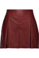 Proenza Schouler Pleated Leather Shorts Burgundy