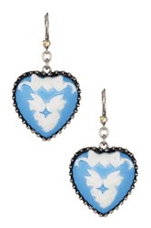 Betsey Johnson Lady Luck Love Birds Heart Drop Earrings Blue