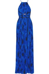 Michael Kors Collection Pleated Printed Crepe De Chine Gown Bright Blue