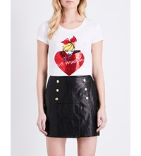 Love Moschino Sequin Embellished Stretch Cotton T Shirt Optical White
