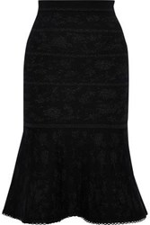 Carolina Herrera Metallic Wool Blend Jacquard Skirt Black