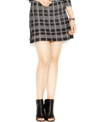 Rachel Rachel Roy Fit And Flare Plaid Skirt Black White