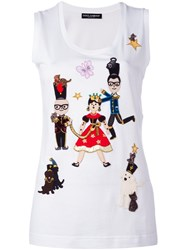Dolce And Gabbana Designers Fairytale Patch Tank Top White