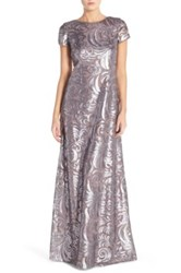 Donna Morgan 'Simone' Cap Sleeve Sequin Swirl A Line Gown Gray