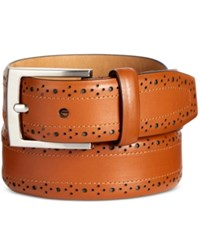 Tasso Elba Men's Feather Edge Leather Belt Only At Macy's Tan