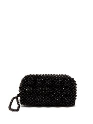 Shrimps Molly Faux Pearl Embellished Clutch Bag Black