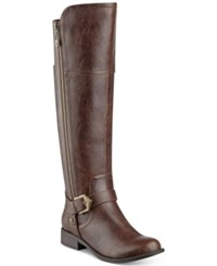 G By Guess Hailee Wide Calf Riding Boots Women's Shoes Brown