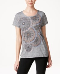 Styleandco. Style And Co. Printed Crew Neck T Shirt Only At Macy's Grey Combo
