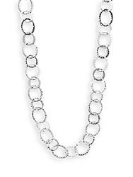 Saks Fifth Avenue Hammered Multi Ring Necklace Silver