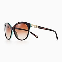 Tiffany And Co. Return To Love Round Sunglasses In Tortoise Blue Acetate. Plastic