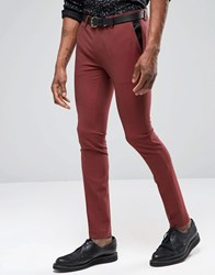 Asos Super Skinny Tuxedo Suit Trousers In Dark Red Mixed Red