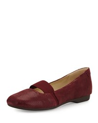 Taryn Rose Bary Patterned Suede Flat Wine