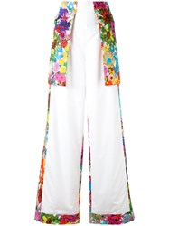 Ports 1961 Floral Panel Flared Trousers Women Cotton 40 White