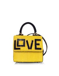 Les Petits Joueurs Micro Alex Black Widow Sunbeam Snake Handbag Yellow