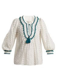 Talitha Zipzag Embroidered Cotton And Silk Blend Shirt Green White