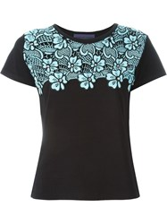 Emanuel Ungaro Blue Flower Motif T Shirt Black