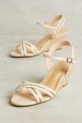 Anthropologie Vicenza White Cross Strap Wedge Sandals