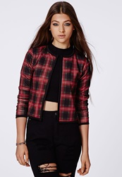 Missguided Shanon Tartan Cropped Blazer Red Red