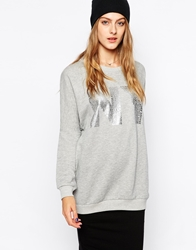 Selected Sweatshirt With Ny Print Grey