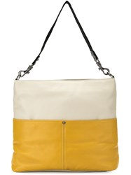 Mara Mac Color Block Tote Bag Leather White