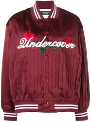 Undercover Satin Bomber Jacket Red