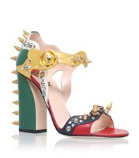 Gucci Malin Spike Leather Sandals Female Red