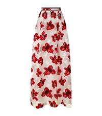 Tory Burch Floral Embroidered Midi Skirt Female Multi